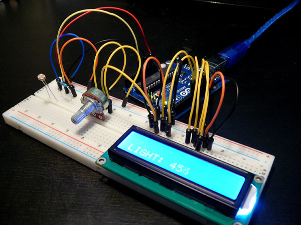 Connecting a lcd display and light sensor to